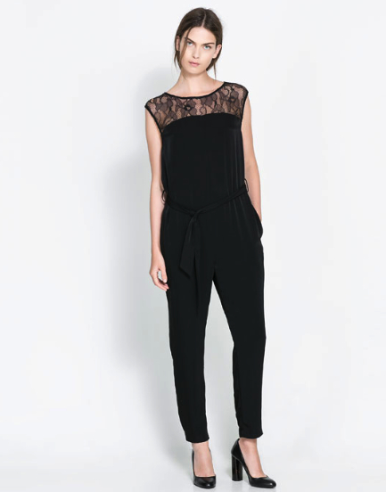 Jumpsuit lace black Zara