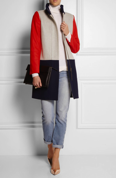 J Crew coat color block