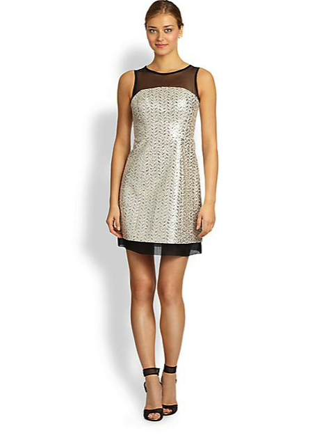 Shoshanna metallic dress under 500 saks