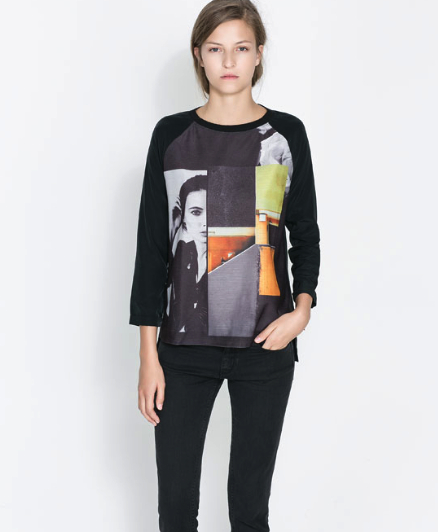 Zara combination print sweatshirt
