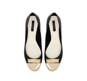 ballet flats with metallic toe zara