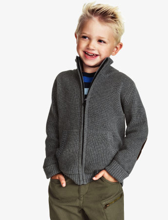 boys cardigan with elbow patch