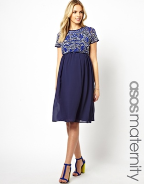 embellished maternity dress