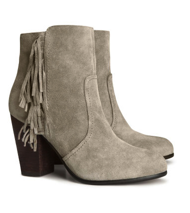 h&m fringed ankle boots