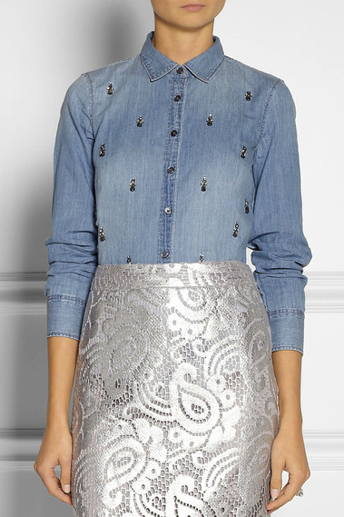 denim shirt embellished J Crew