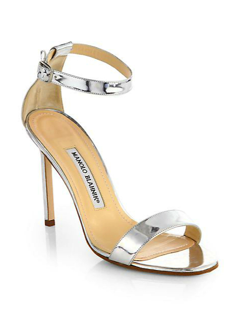 manolo blahnik metallic shoes