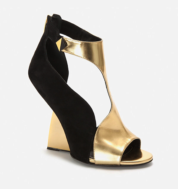 Sergio Rossi metallic wedges