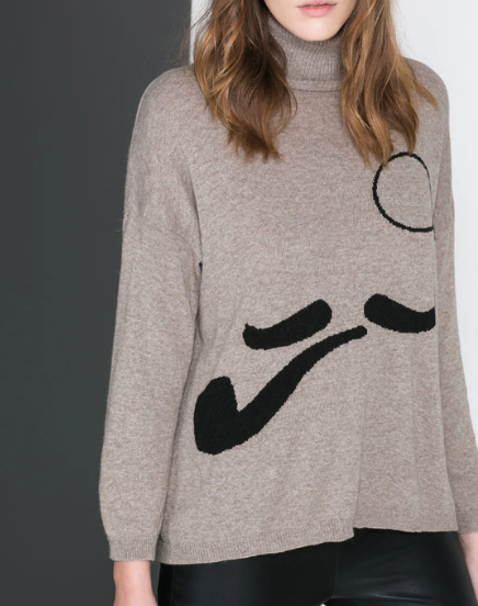 mustache sweater Zara
