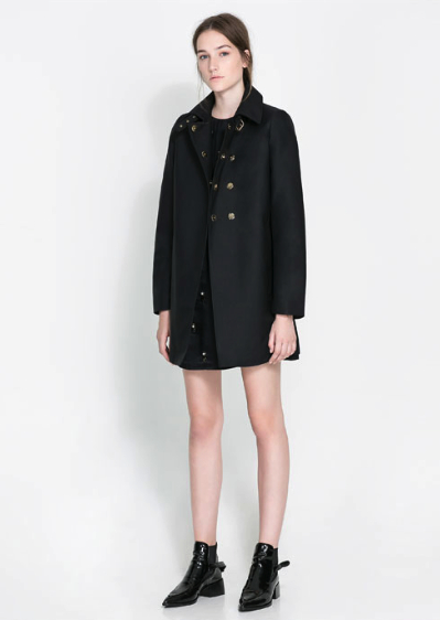 zara black trench