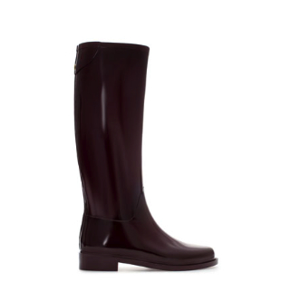 zara burgundy wellies