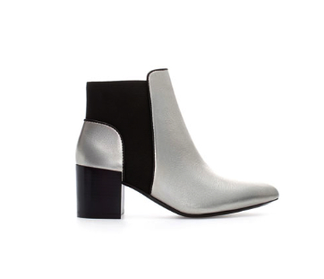 zara metallic ankle boot