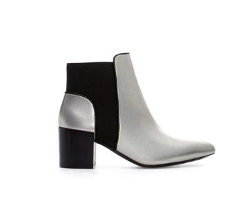 zara metallic ankle boot