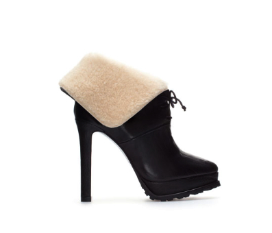 zara sheepskin ankle boot