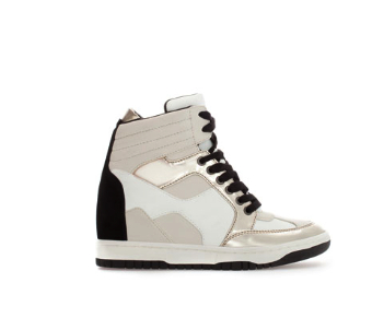 zara wedge sneaker metallic