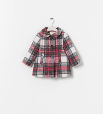 girl plaid coat Zara