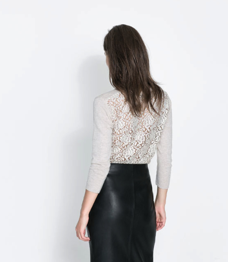 lace back sweater Zara