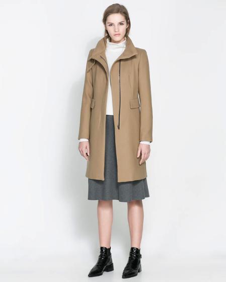 camel coat Zara