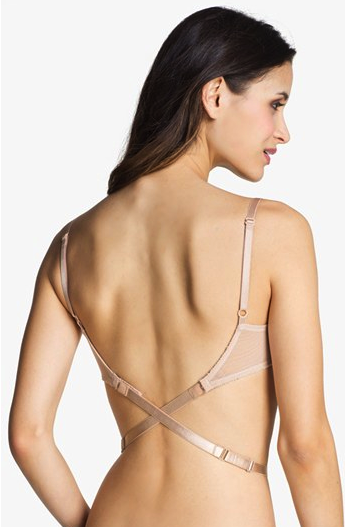 Low back strap bra attachment
