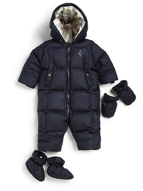 burberry puffer snowsuit with gloves and booties