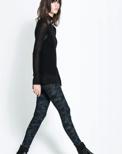 camo denim leggings zara