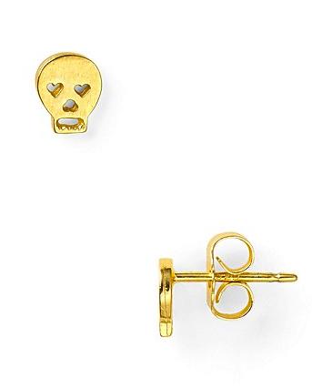 dogeared skull earrings