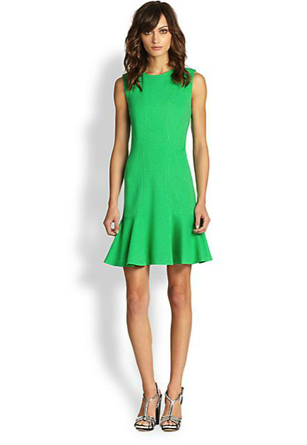 dvf green dress saks