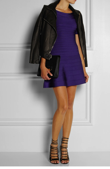 herve leger purple dress net