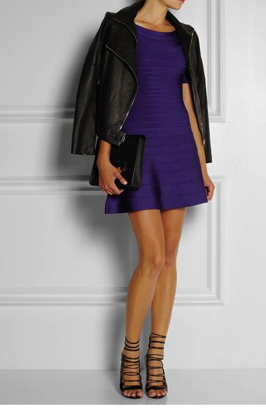herve leger purple dress net