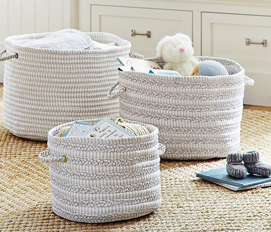 pottery barn woven nursery storage