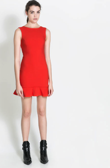 zara trf red dress