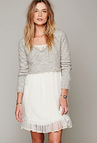 Free people dress:sweater combo