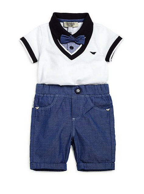 armani junior 2 pc bodysuit and pants set