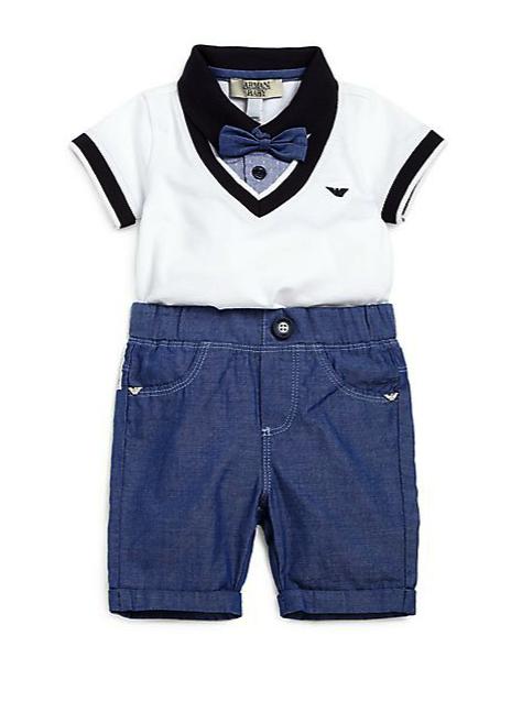 armani junior 2 pc bodysuit and pants set