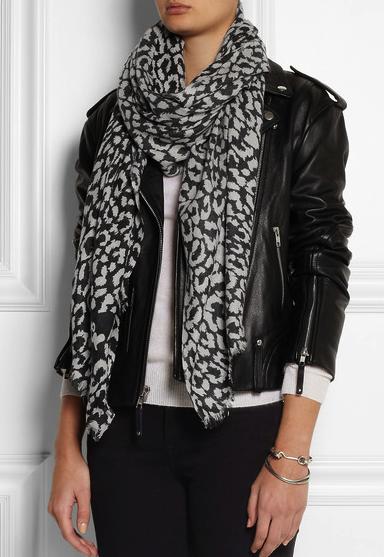 diane von furstenberg leopard print scarf