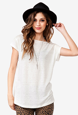forever21 scoop back linen tee