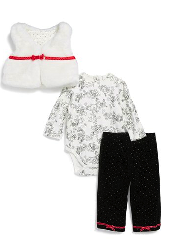 little me vest, bodysuit and pant set