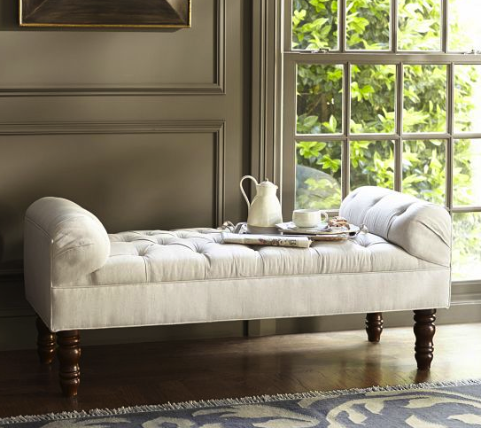 pottery barn tufted bench