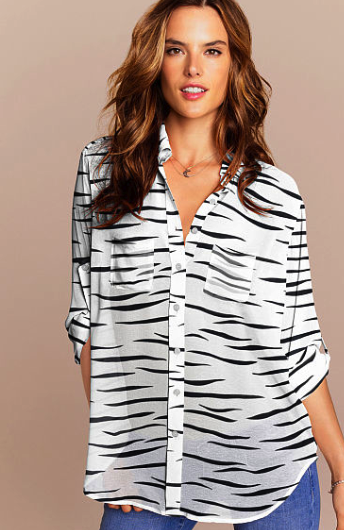 victoria's secret zebra print shirt