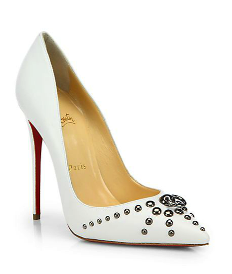 Christian Louboutin door knock pumps in white