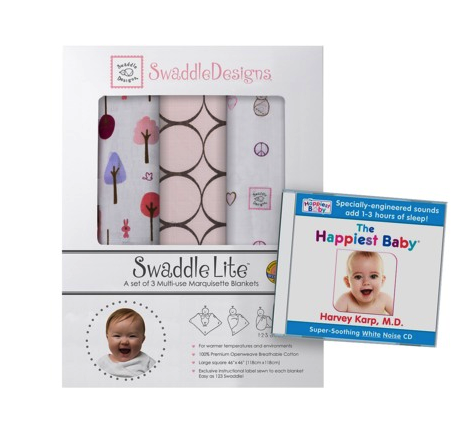 Dr. Karp white noise CD & Swaddle lite blankets