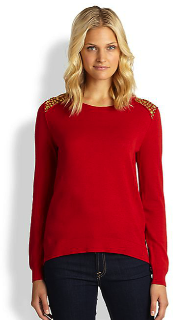 MICHAEL Michael Kors studded shoulder sweater