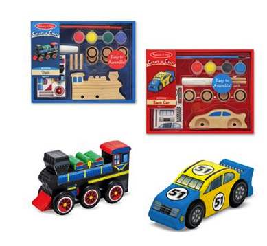 Meliss and Doug create a craft train and car set