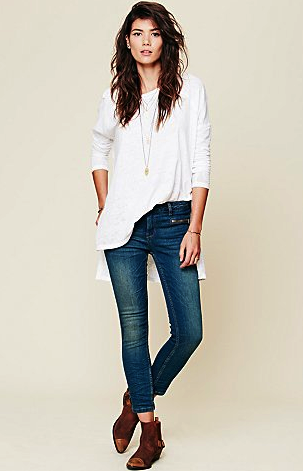 Free People zip ankle skinny jeans