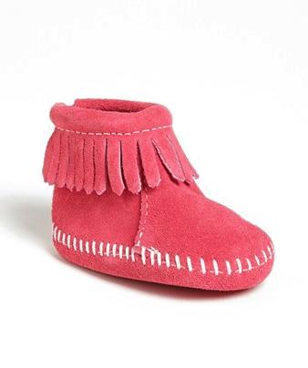 Minnetonka baby bootie in pink