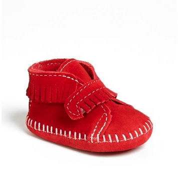 Minnetonka baby bootie in red