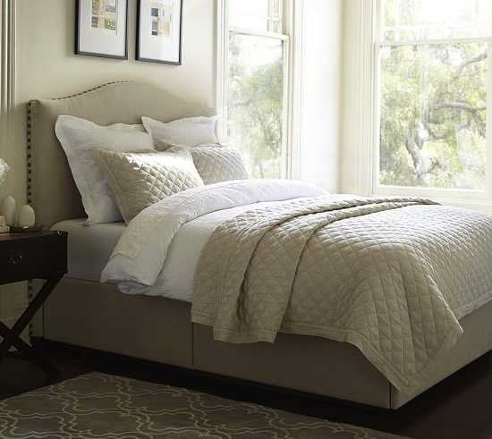 Pottery Barn headboard & storage platform bed