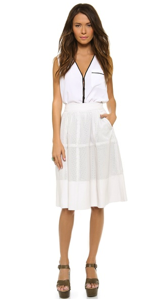 Rachel Zoe perforated leather skirt