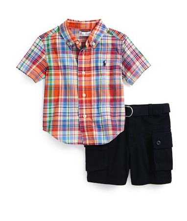 Ralph Lauren top and cargo shorts