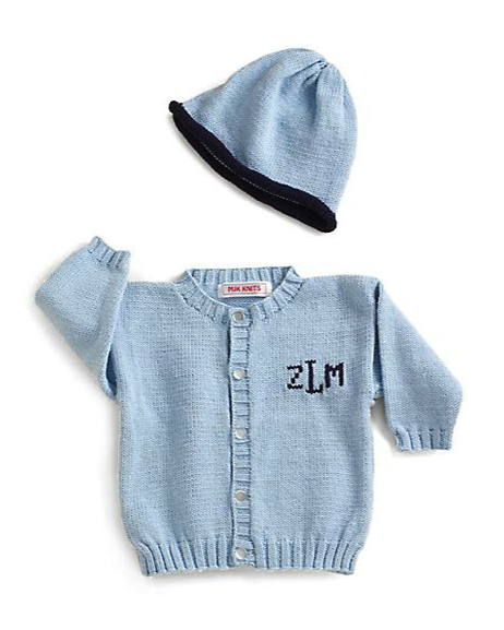 MJK Knits personalized cardigan and hat