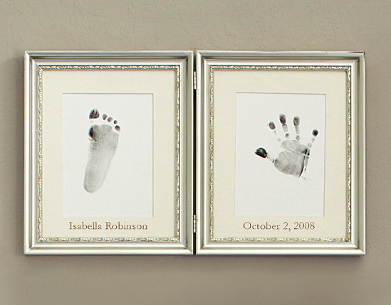Pottery Barn  silver leaf hand and footprint frame
